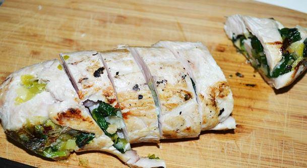 Receta de Bifes de pollo rellenos con espinaca
