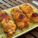 Muslos de pollo rellenos al horno