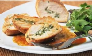 Pechugas de pollo con ricota y espinacas