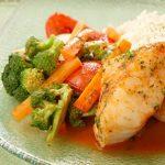 Pollo al vapor con vegetales