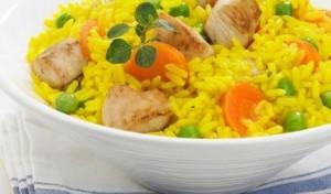 Pollo con arroz y azafrán