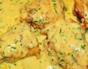 Pollo con crema de limón