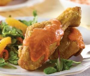 Pollo con crema de pimientos