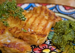 Pollo con salsa pesto