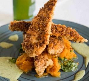 Pollo crocante con avena y parmesano
