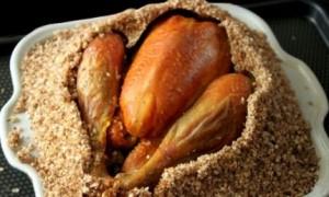 Pollo en costra de sal