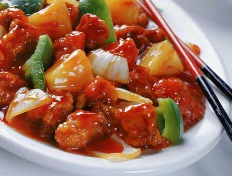 Receta de Pollo frito con vegetales en salsa