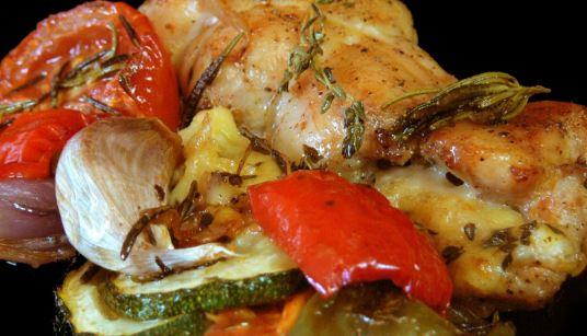 Receta de Pollo rostizado con vegetales