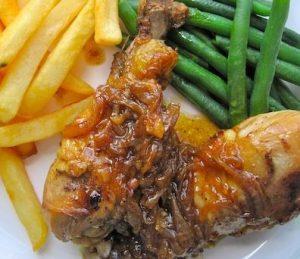 Receta de pollo encebollado