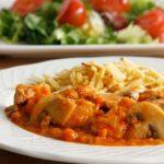 Receta de sofrito de pollo con champignones y tomates