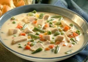 Sopa crema de pollo y verduras