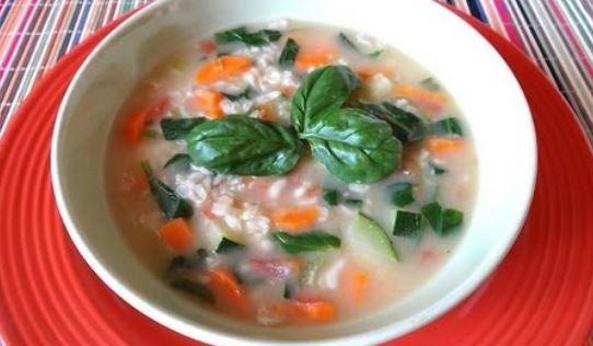 Sopa de avena con pollo y verduras