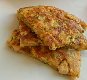 Tortilla de pollo y papas